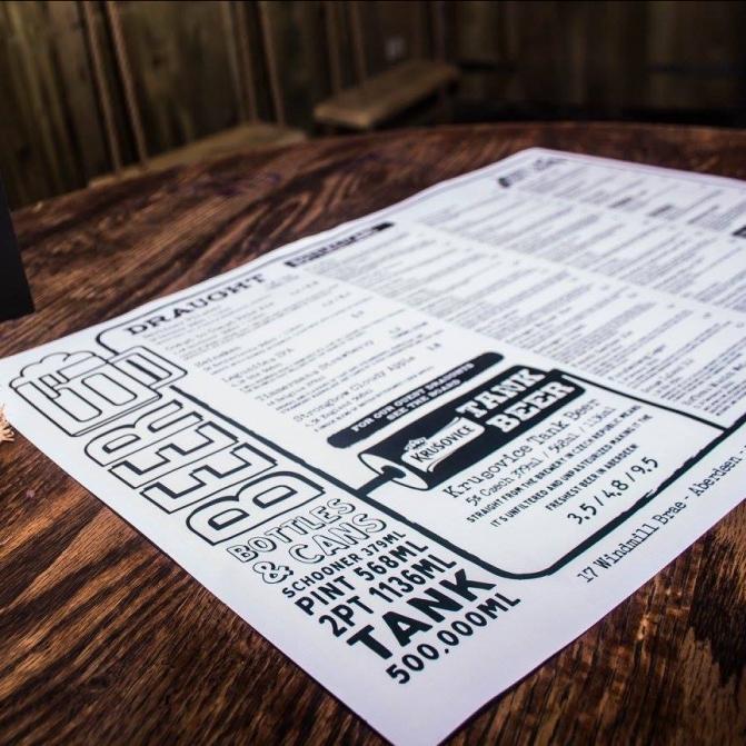 menu design beer food graphic illustration branding